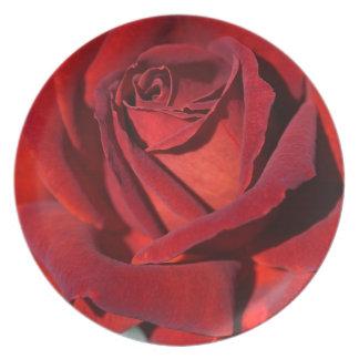 Hot Chocolate Red Rose Melamine Plate
