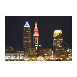 """Hot Cleveland""  Terminal Tower Light Canvas Print"
