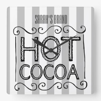 Hot Cocoa Add Your Name Square Wall Clock