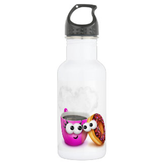 Hot Coffee And A Donut Water Bottle
