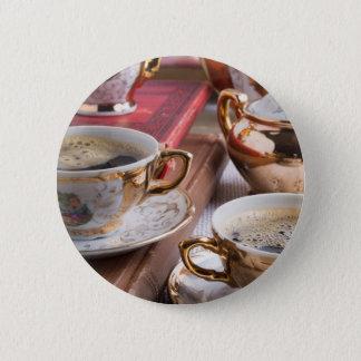 Hot coffee and retro crockery for breakfast 6 cm round badge
