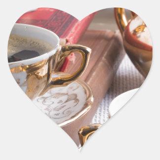 Hot coffee and retro crockery for breakfast heart sticker