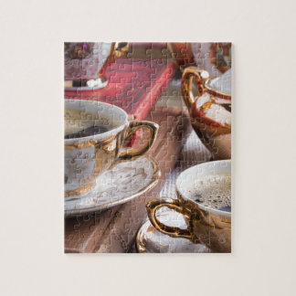 Hot coffee and retro crockery for breakfast jigsaw puzzle