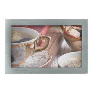Hot coffee and retro crockery for breakfast rectangular belt buckle