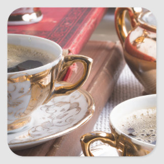 Hot coffee and retro crockery for breakfast square sticker