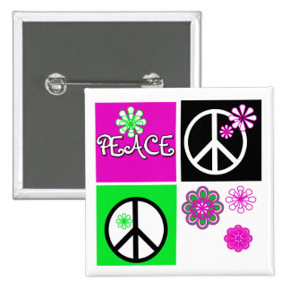 Hot Colors Peace T-shirts and Gifts Button