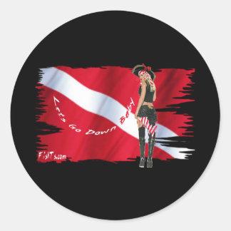 Hot Dive Babes in Bikini's Round Sticker