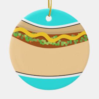 Hot Dog and Relish Ceramic Ornament