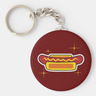 Hot Dog Basic Round Button Key Ring