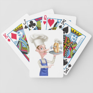 Hot Dog Cartoon Chef Pointing Bicycle Playing Cards