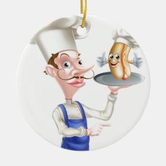 Hot Dog Cartoon Chef Pointing Ceramic Ornament