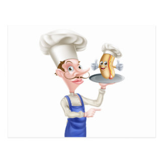 Hot Dog Cartoon Chef Pointing Postcard