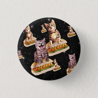 hot dog cat invasion 3 cm round badge