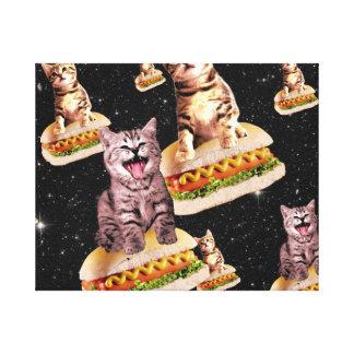hot dog cat invasion canvas print