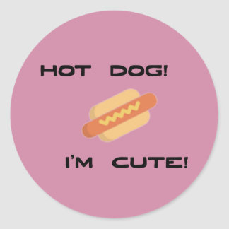 Hot Dog I'm Cute Classic Round Sticker