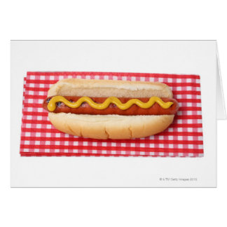 Hot Dog on Checkered Picnic Table Card