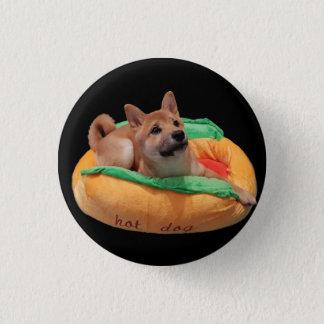 Hot Dog Shiba Badge Black