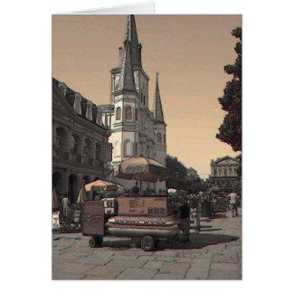 Hot Dog Vendor French Quarter Card