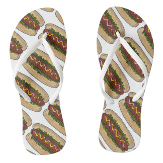 Hot Dog w/ Mustard and Relish Foodie Hotdog Print Thongs