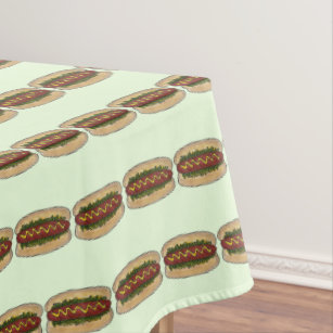 Hot Dog w/ Mustard Relish Fast Food Foodie Picnic Tablecloth