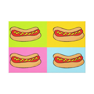 hot dogs tiled canvas stretched canvas print
