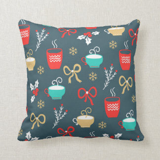 Hot drinks and Holly Berry Christmas Pattern Cushion