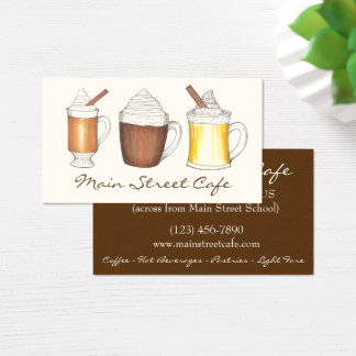 Hot Eggnog Cocoa Buttered Rum Coffee Shop Cafe Business Card