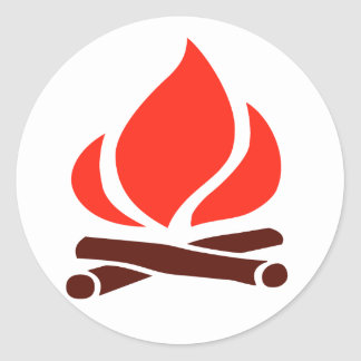 hot fire in fireplace classic round sticker