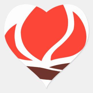 hot fire in fireplace heart sticker