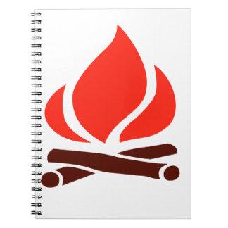 hot fire in fireplace notebook