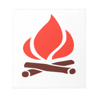 hot fire in fireplace notepad