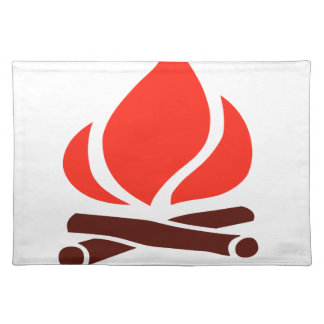 hot fire in fireplace placemat