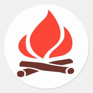 hot fire in fireplace round sticker