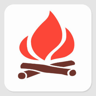 hot fire in fireplace square sticker