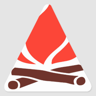 hot fire in fireplace triangle sticker