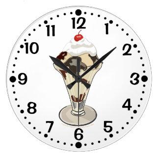 Hot Fudge Ice Cream Sundae Custom Kitchen Minutes Wall Clocks