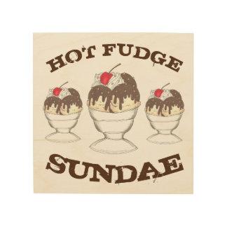 Hot Fudge Ice Cream Sundae Foodie Diner Kitchen Wood Print