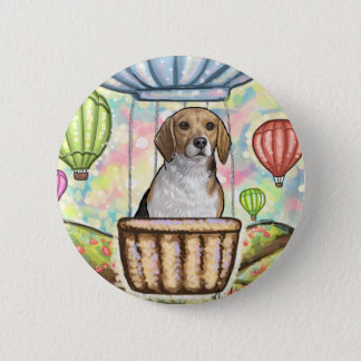 -hot hair balloon 6 cm round badge
