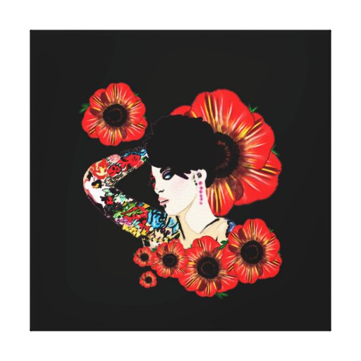 Hot inked girl ART BY LeahG Poppy flower red black Stretched Canvas Prints