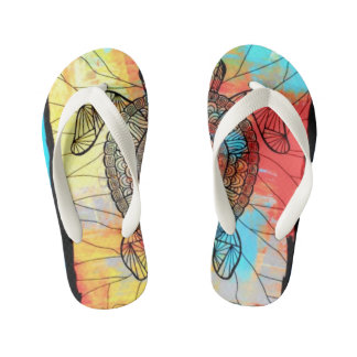 """HOT KIDS FLIP FLOPS 3"" ABSTRACT IMAGE THONGS"