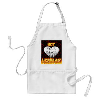 Hot Lesbian fire and red marble heart Standard Apron