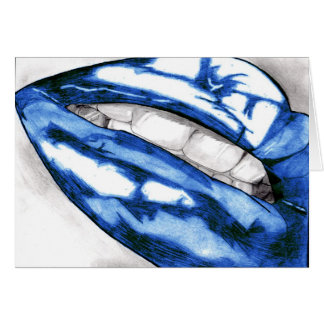 Hot Lips Greetings Cards (Blue)