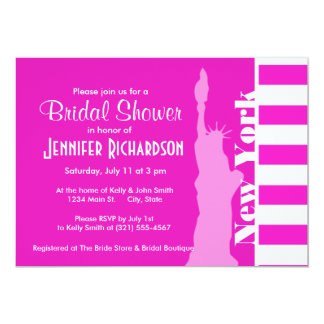 Hot Magenta Pink Stripes; New York 13 Cm X 18 Cm Invitation Card