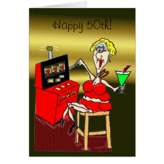 HOT MAMA SLOT MACHINE LUCKY 7'S 50th BIRTHDAY CARD