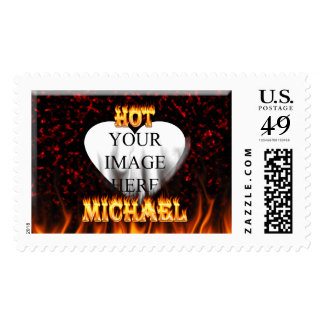 Hot Michael fire and flames red marble. Postage Stamp