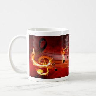 Hot Music Notes Basic White Mug