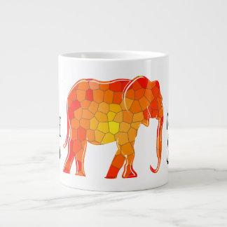 Hot Orange Mosaic Cartoon Elephant Big Beautiful Large Coffee Mug