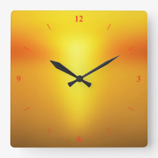 Hot Orange. Square Wall Clock
