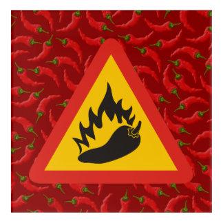 Hot pepper danger sign acrylic wall art