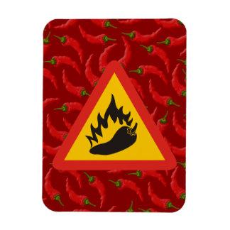Hot pepper danger sign rectangular photo magnet